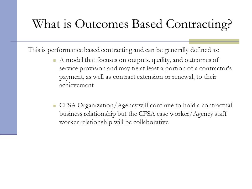 What is Outcomes Based Contracting