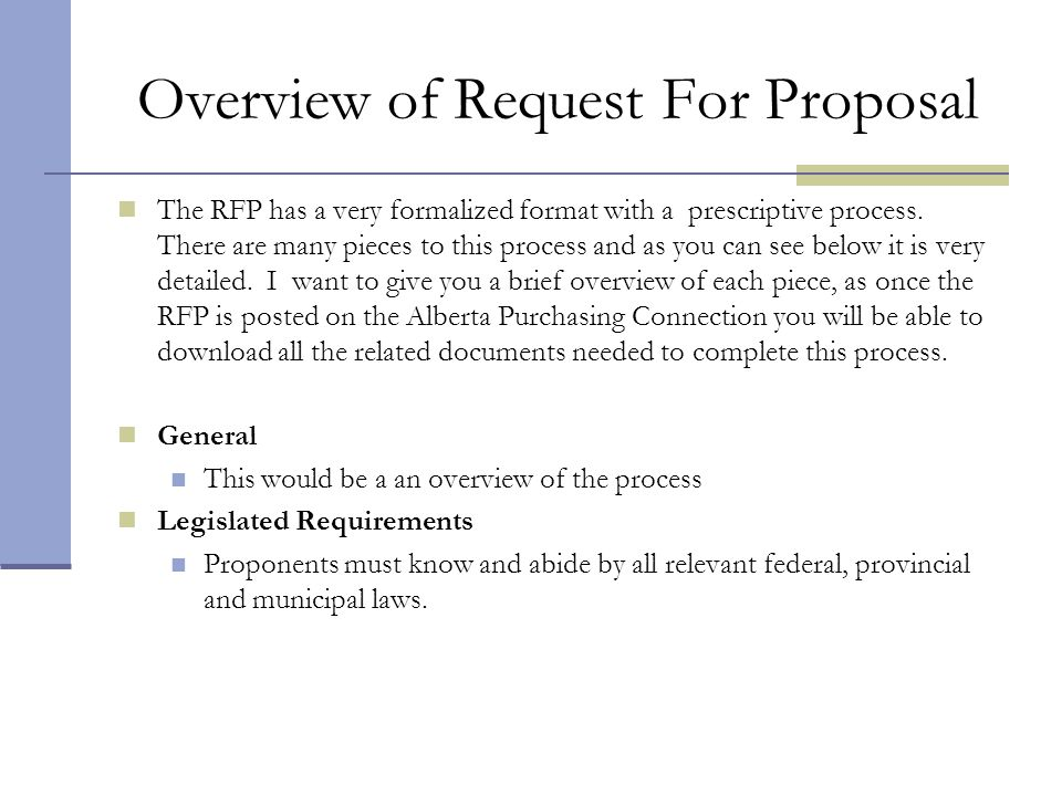 Overview of Request For Proposal