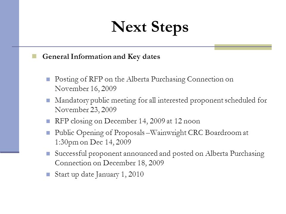 Next Steps General Information and Key dates