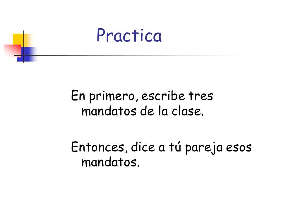 Practica En primero, escribe tres mandatos de la clase.