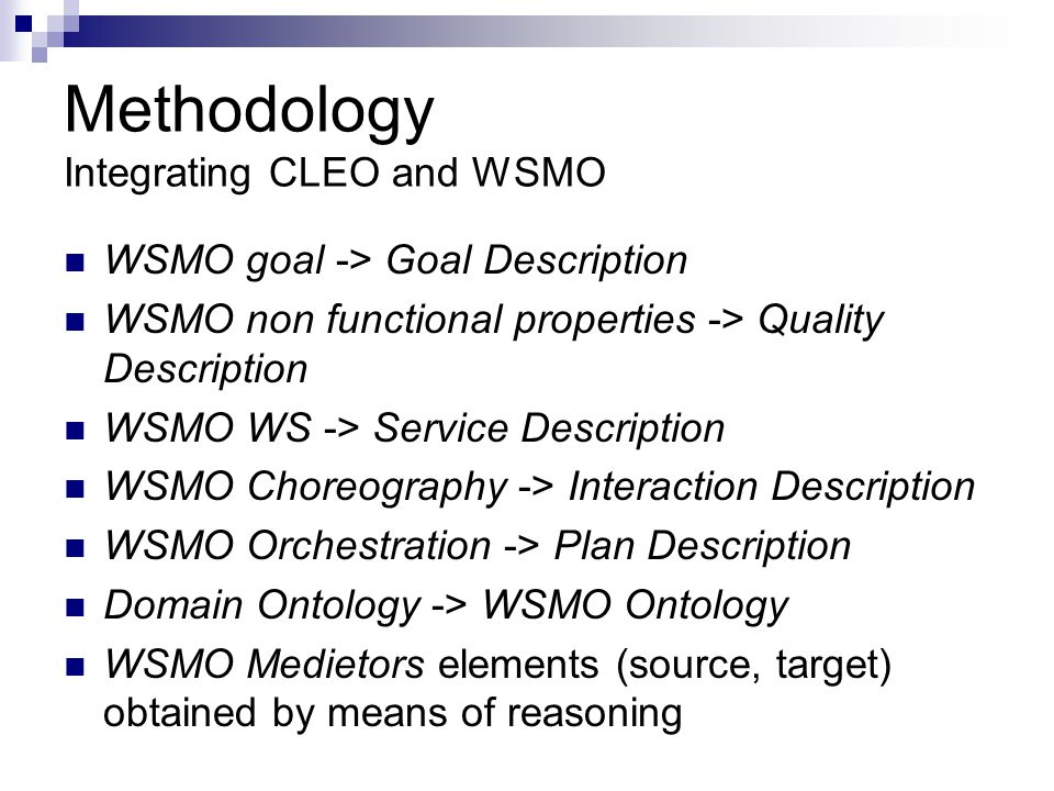 Methodology Integrating CLEO and WSMO
