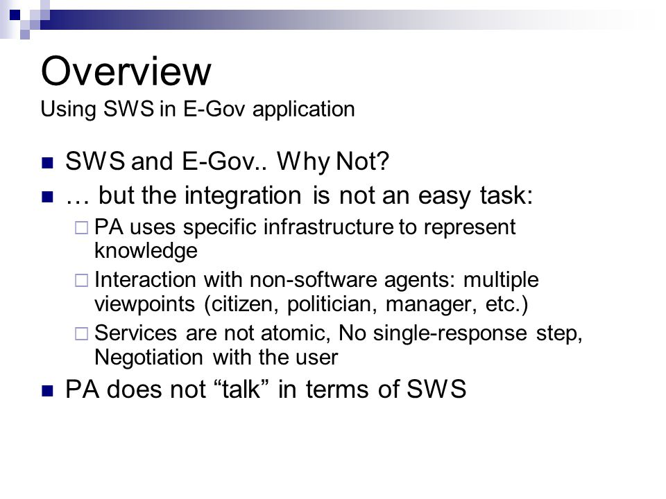 Overview Using SWS in E-Gov application