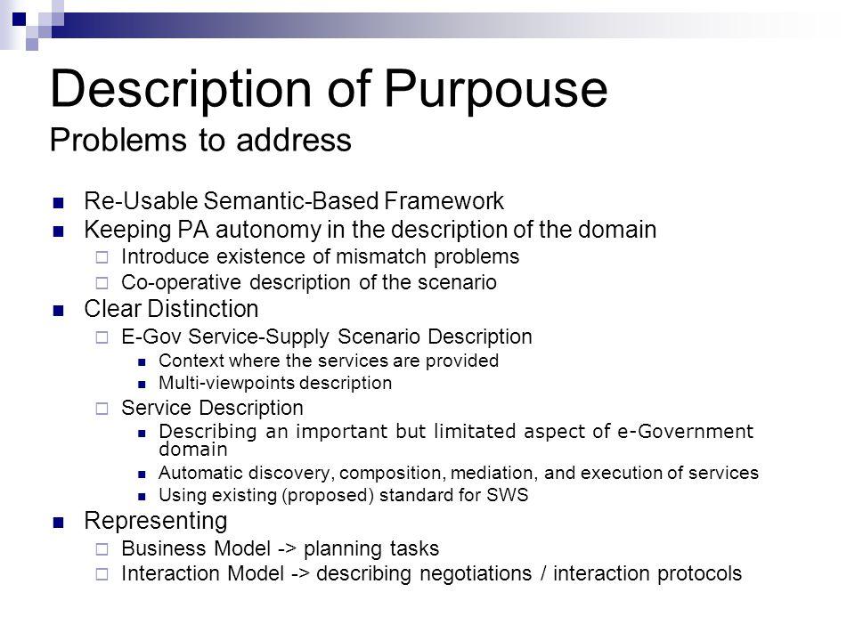 Description of Purpouse Problems to address