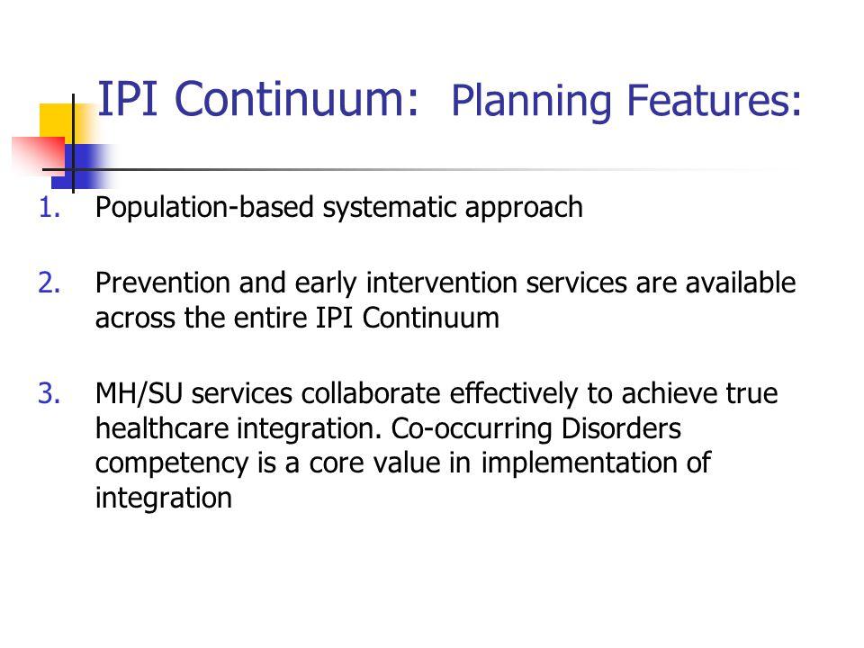 IPI Continuum: Planning Features: