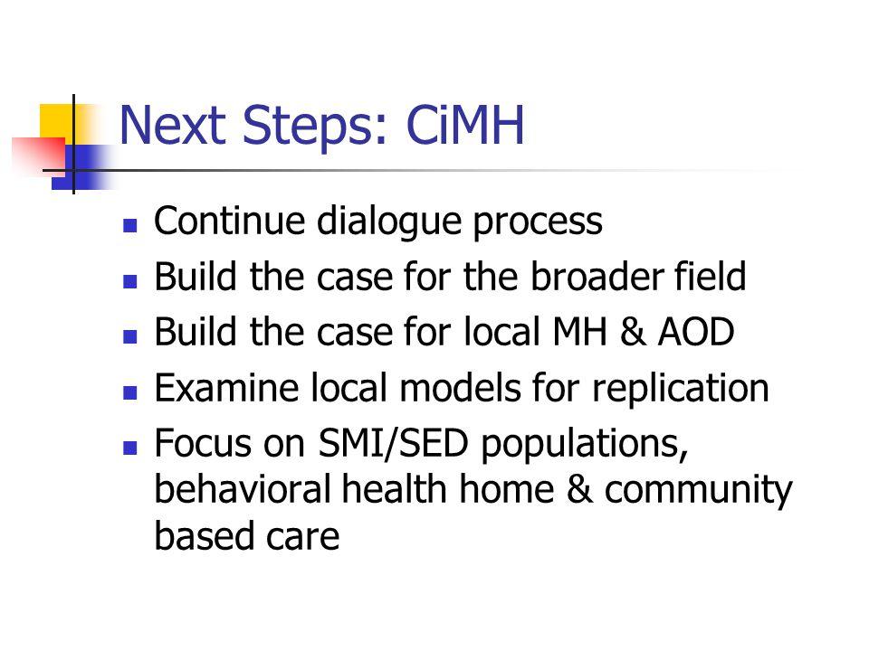 Next Steps: CiMH Continue dialogue process