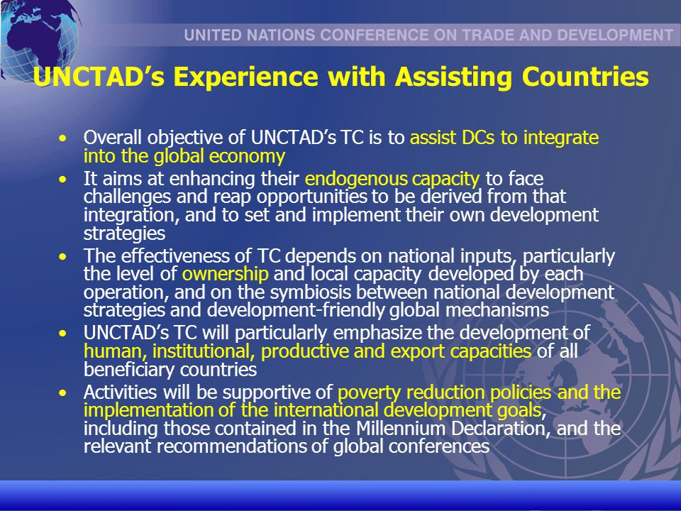 UNCTAD's Experience with Assisting Countries