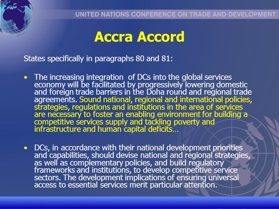 Accra Accord States specifically in paragraphs 80 and 81: