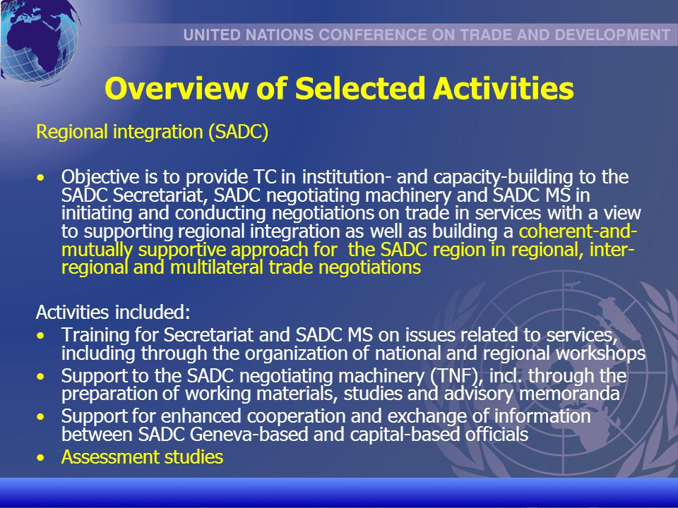 Overview of Selected Activities