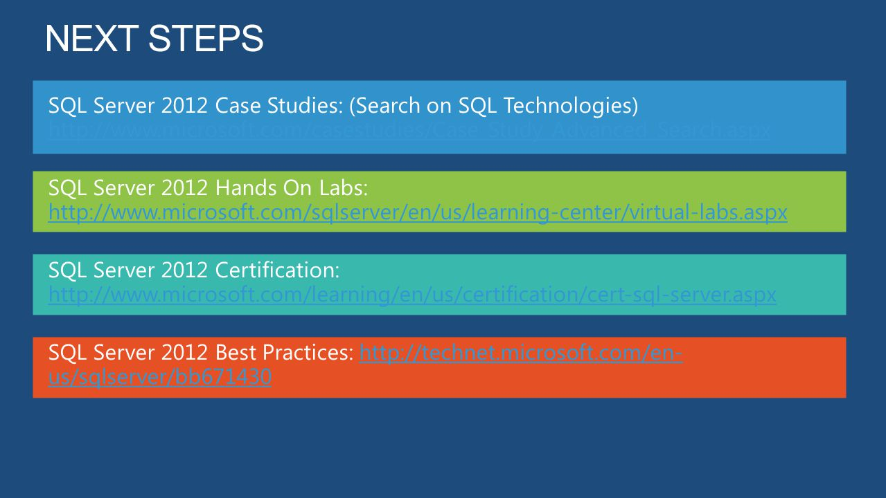 Next steps SQL Server 2012 Case Studies: (Search on SQL Technologies) http://www.microsoft.com/casestudies/Case_Study_Advanced_Search.aspx.