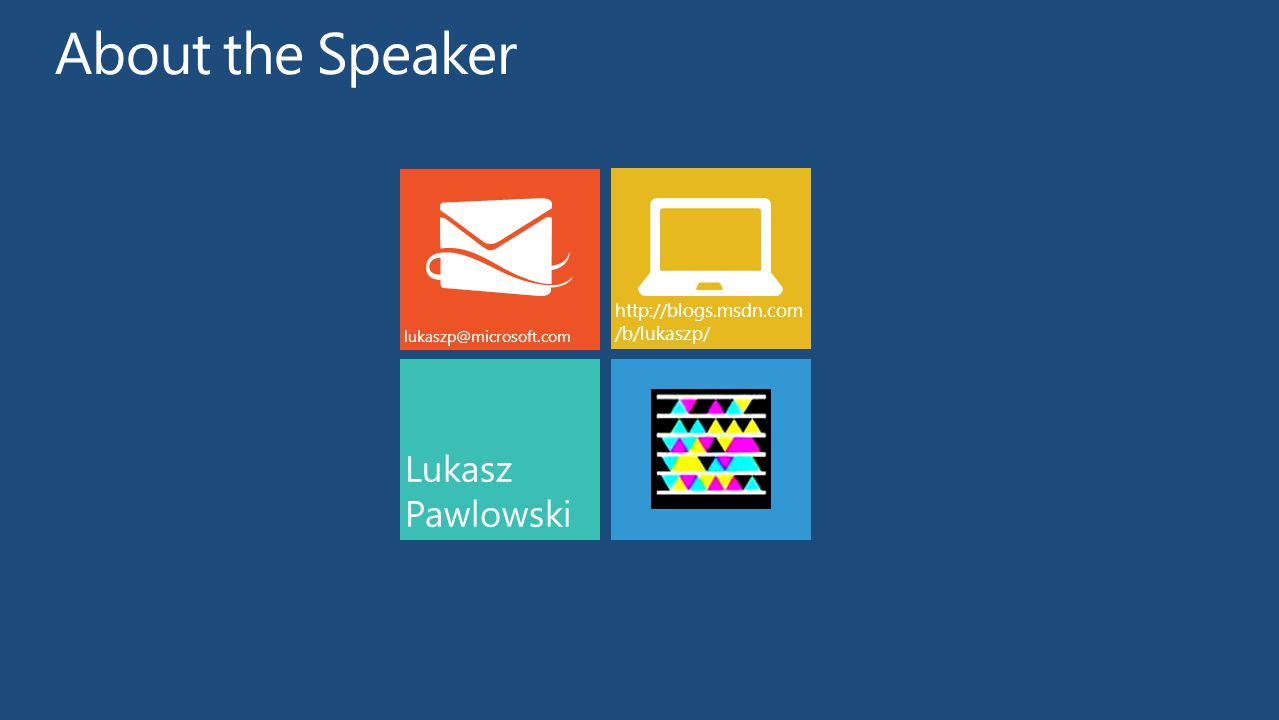 About the Speaker Lukasz Pawlowski http://blogs.msdn.com/b/lukaszp/