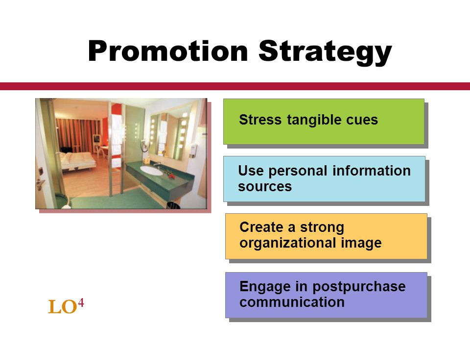 Promotion Strategy LO4 Stress tangible cues Use personal information