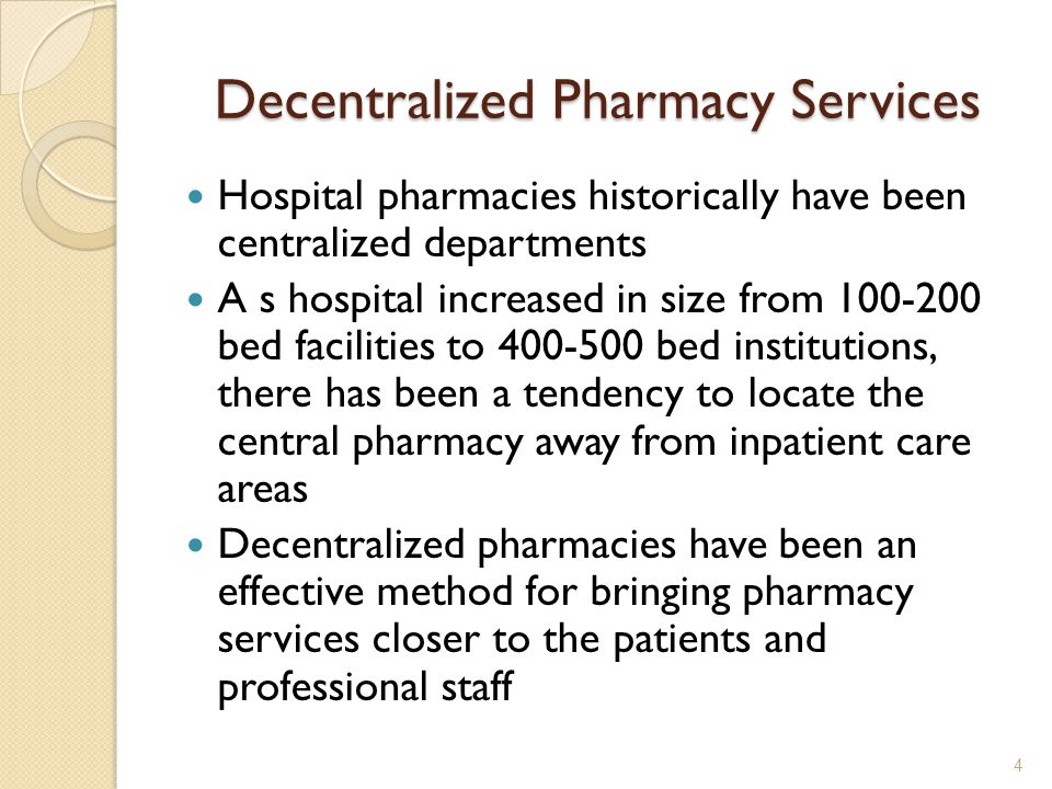 Decentralized Pharmacy Services
