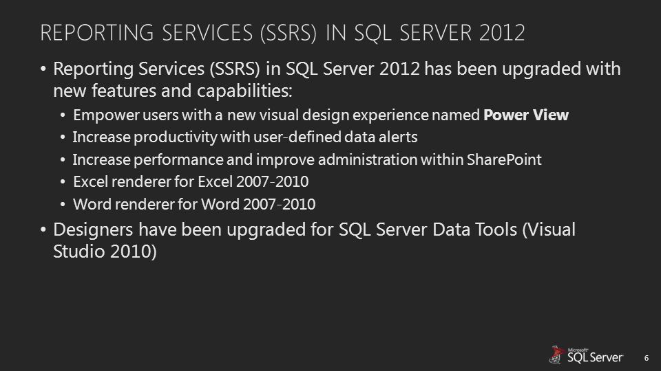 Reporting Services (SSRS) in SQL Server 2012