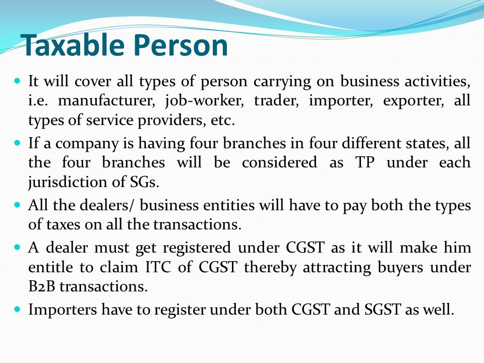 Taxable Person