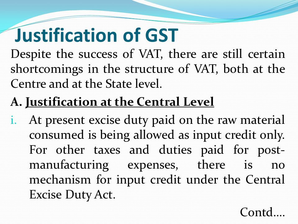 Justification of GST