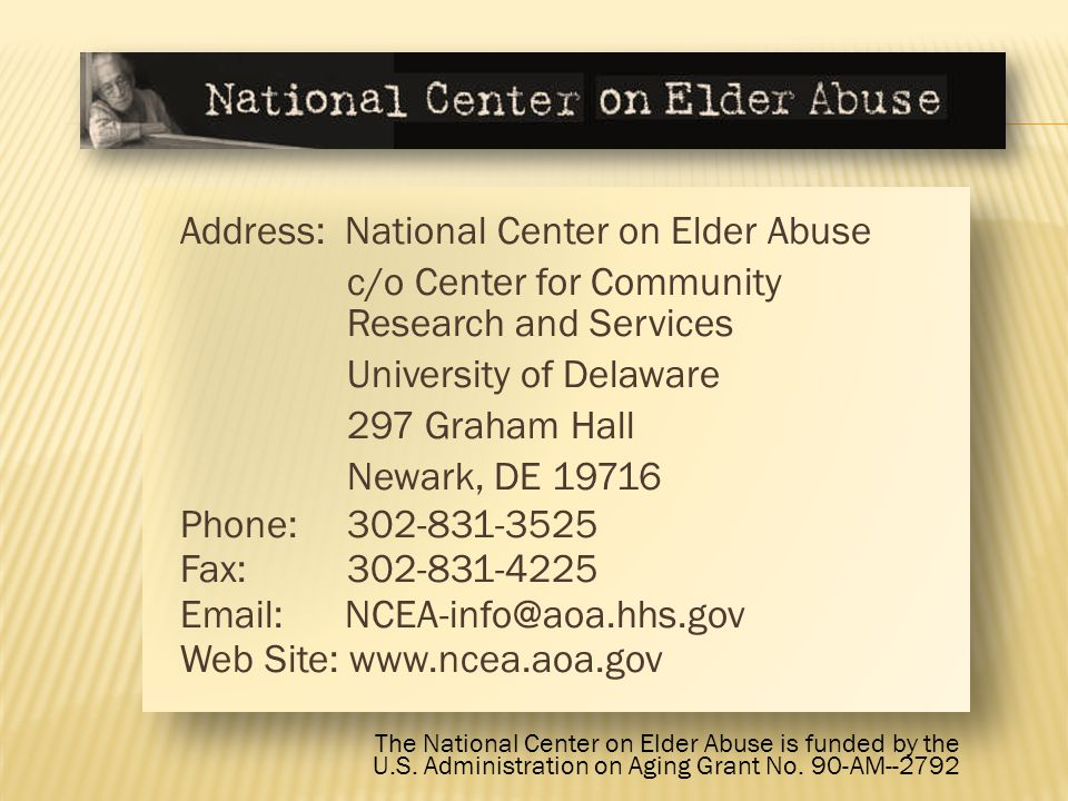 Address: National Center on Elder Abuse