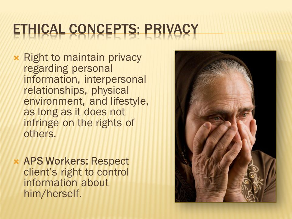 Ethical concepts: privacy