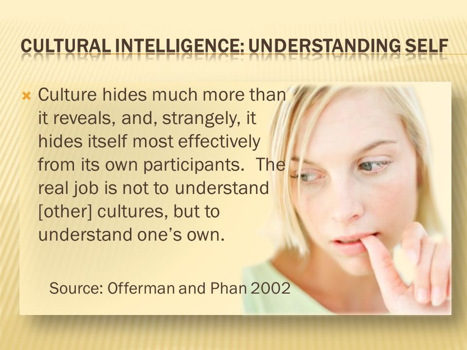 CULTURAL INTELLIGENCE: Understanding Self