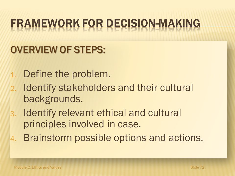 FRAMEWORK FOR Decision-making
