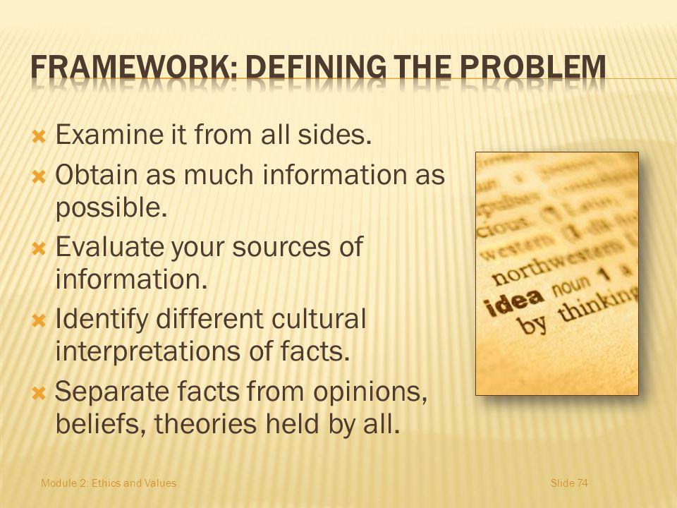 FRAMEWORK: Defining the Problem