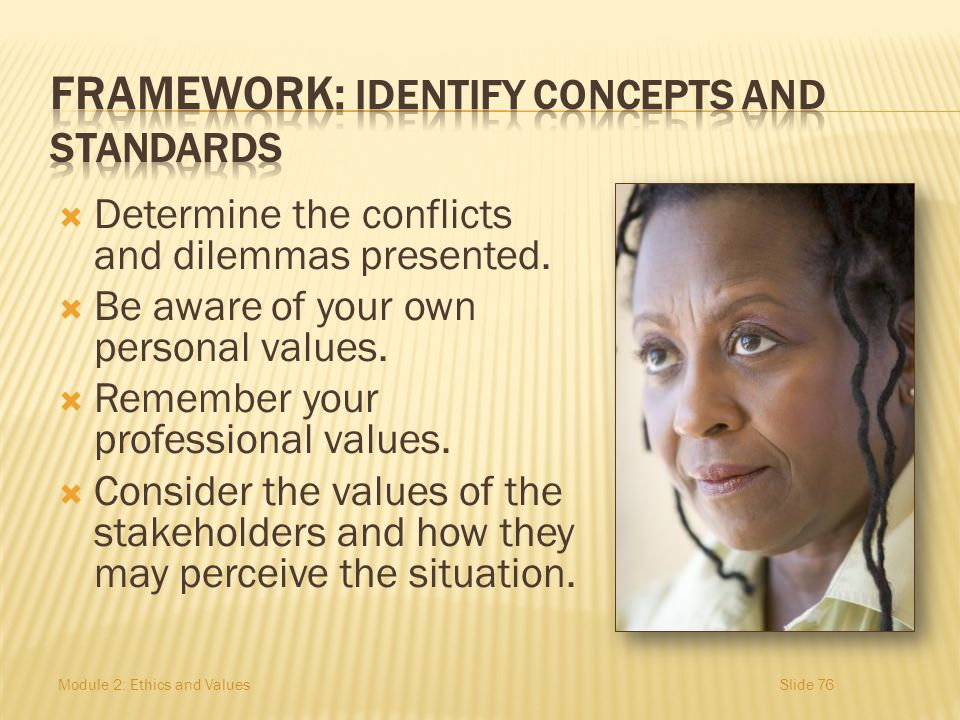 FRAMEWORK: Identify concepts and standards