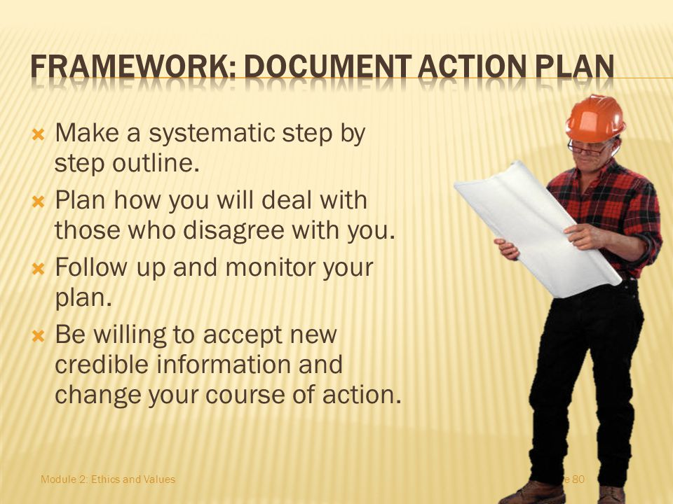 FRAMEWORK: Document action plan