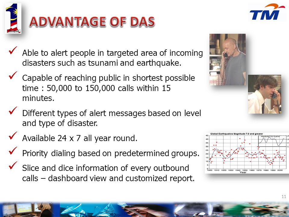 ADVANTAGE OF DAS Able to alert people in targeted area of incoming disasters such as tsunami and earthquake.