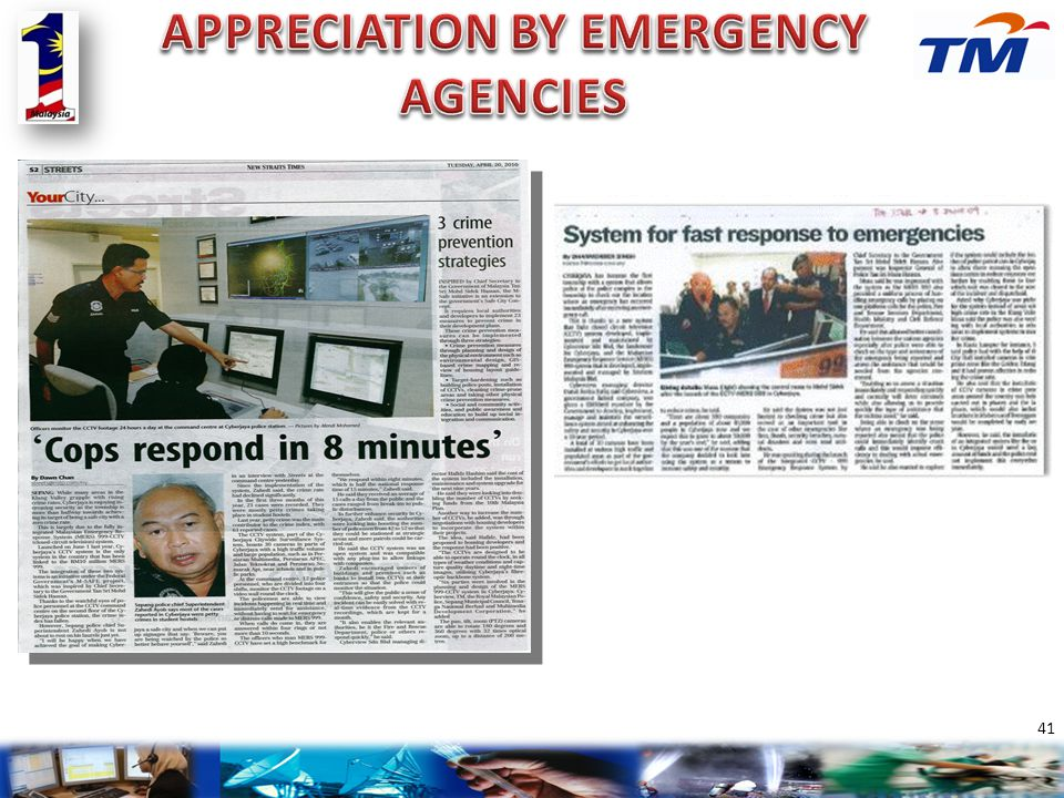 APPRECIATION BY EMERGENCY AGENCIES