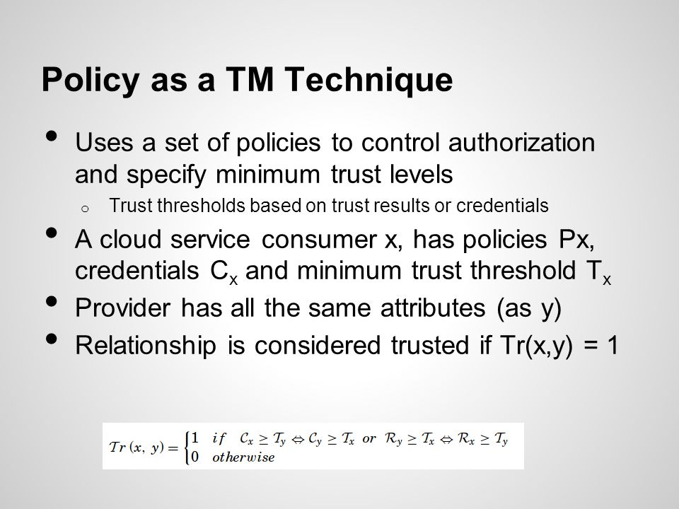 Policy as a TM Technique