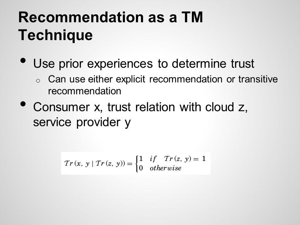 Recommendation as a TM Technique
