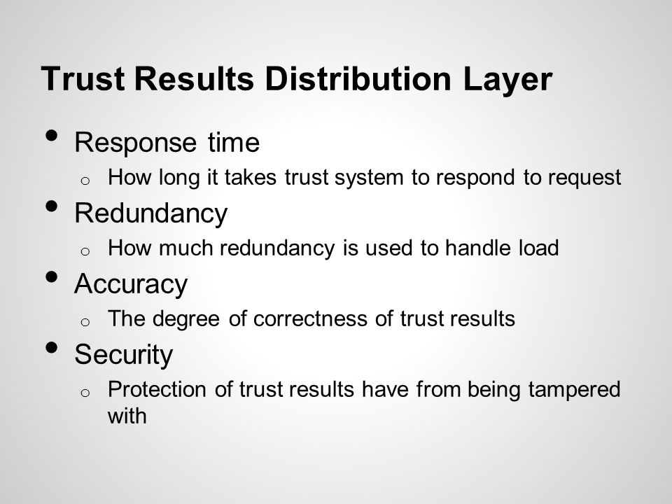 Trust Results Distribution Layer