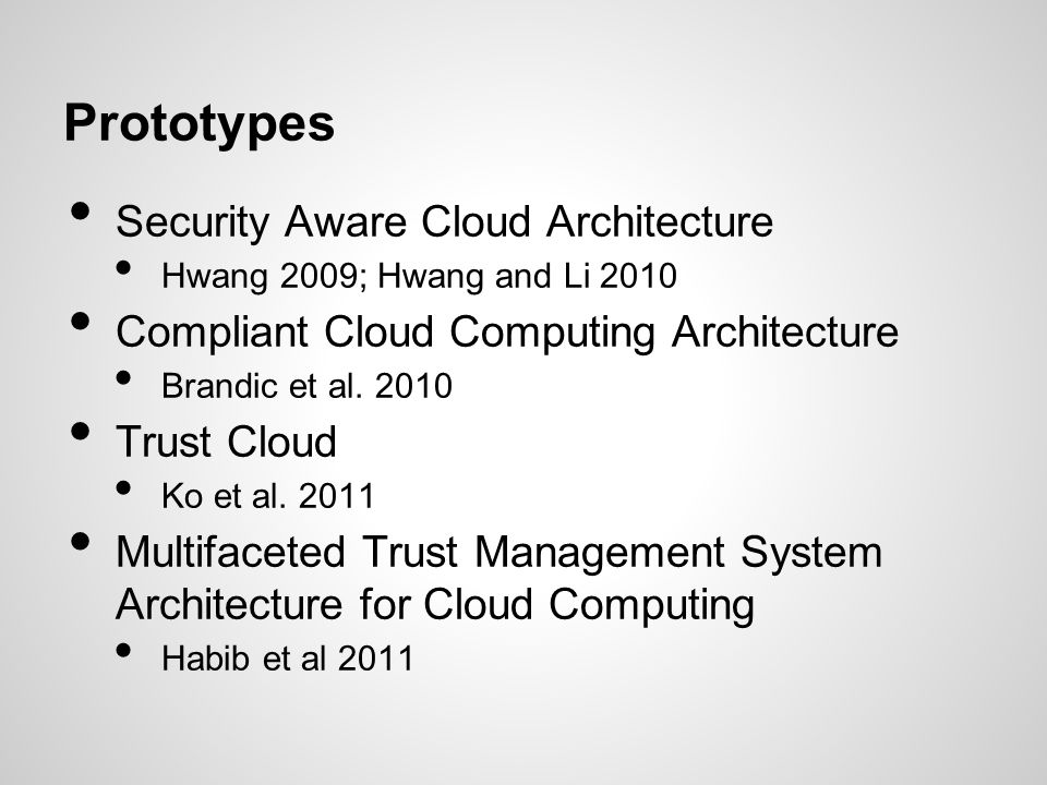 Prototypes Security Aware Cloud Architecture