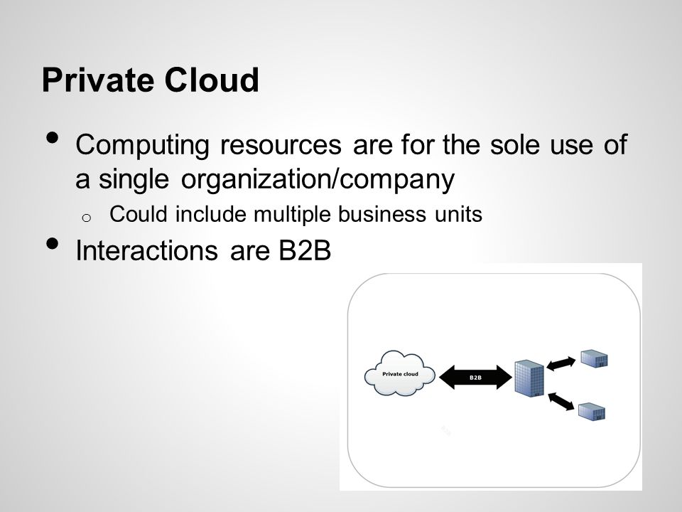 Private Cloud Computing resources are for the sole use of a single organization/company. Could include multiple business units.