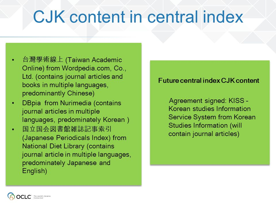 CJK content in central index
