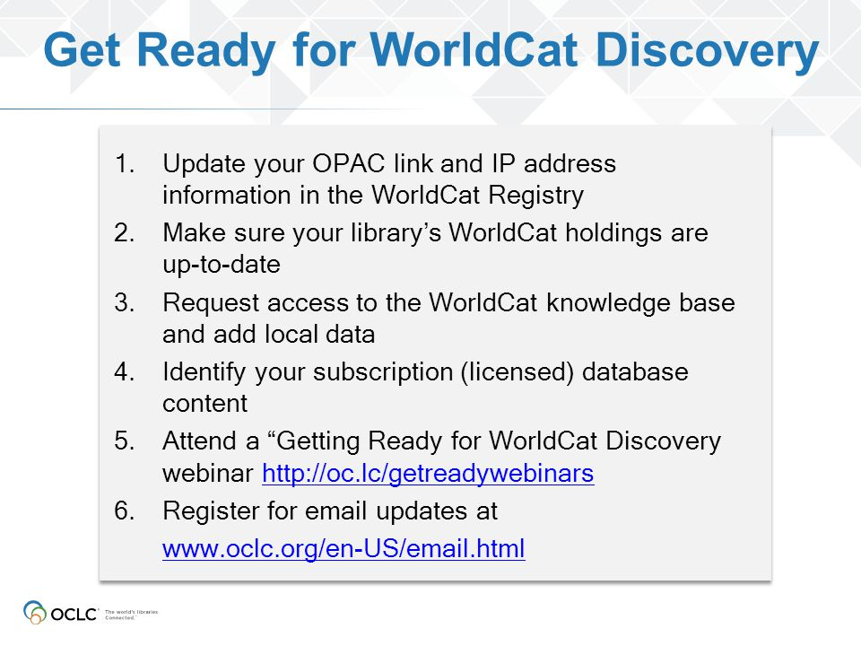 Get Ready for WorldCat Discovery