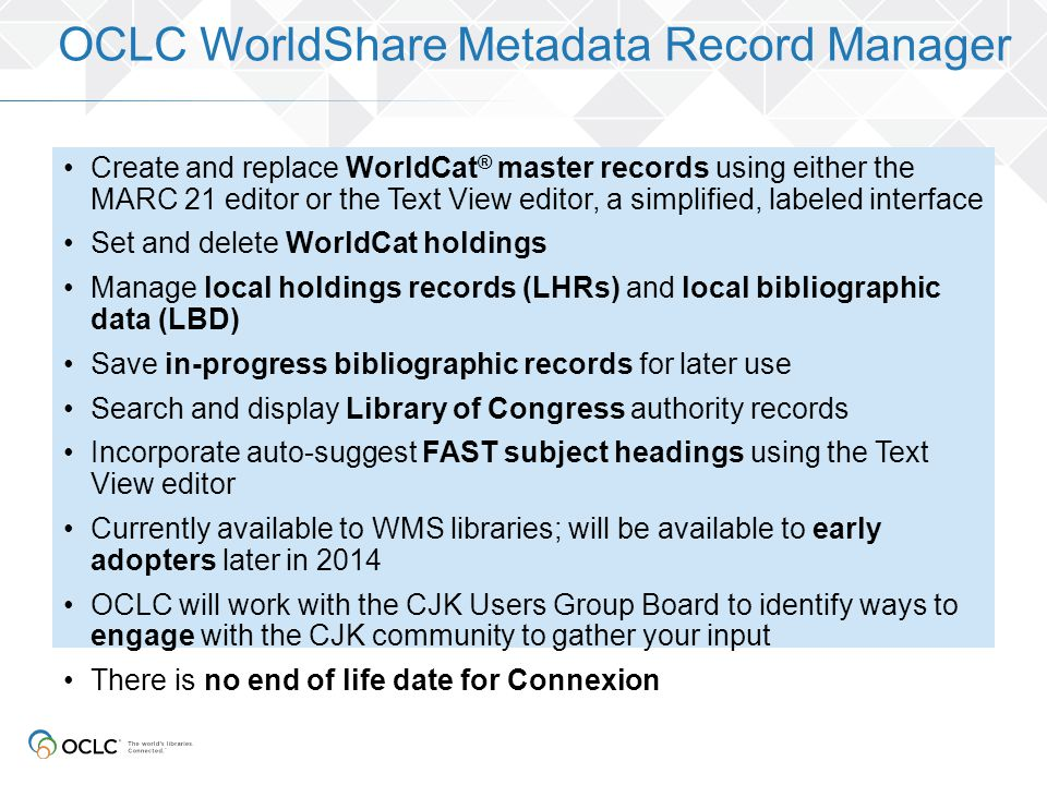 OCLC WorldShare Metadata Record Manager