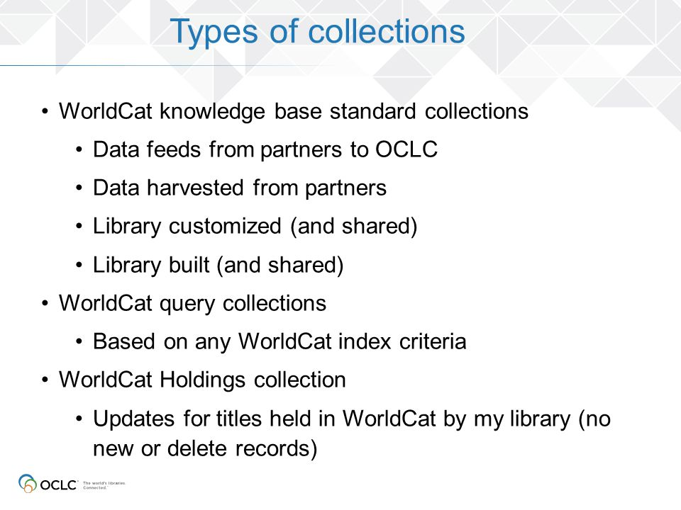 Types of collections WorldCat knowledge base standard collections
