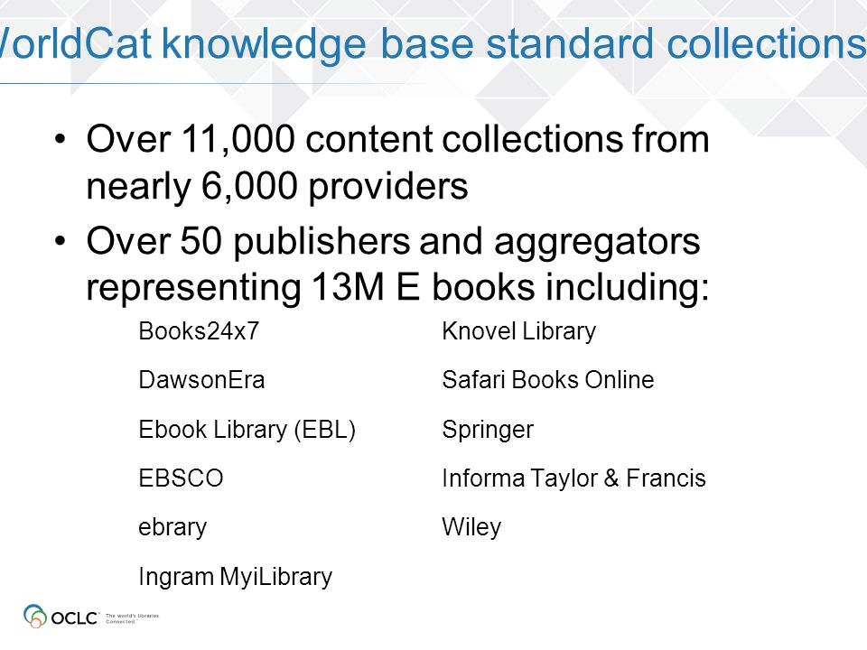 WorldCat knowledge base standard collections