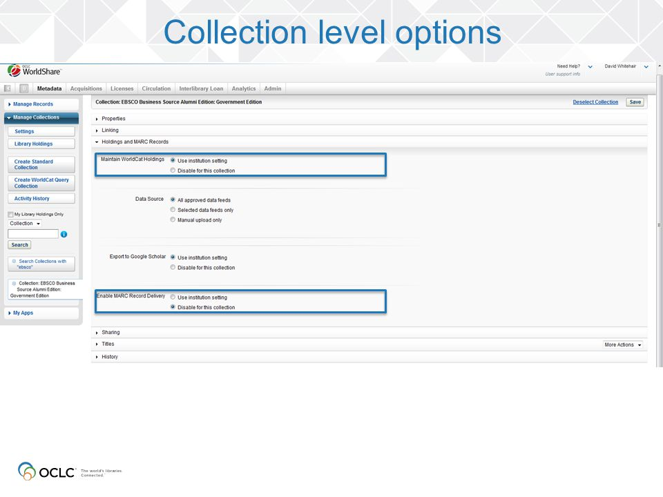 Collection level options
