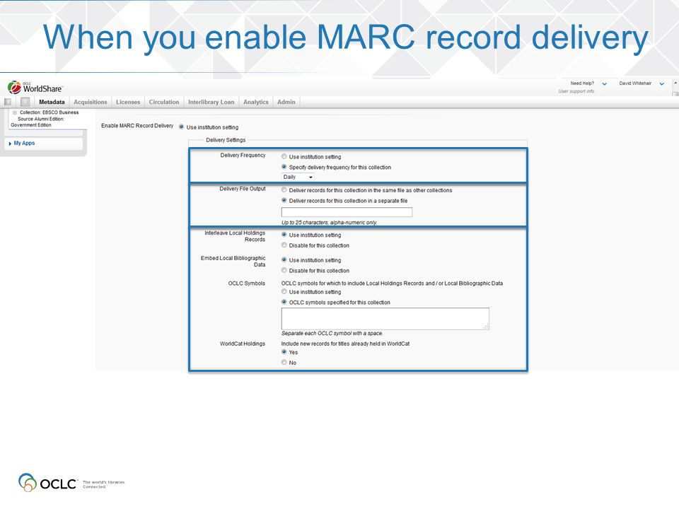 When you enable MARC record delivery