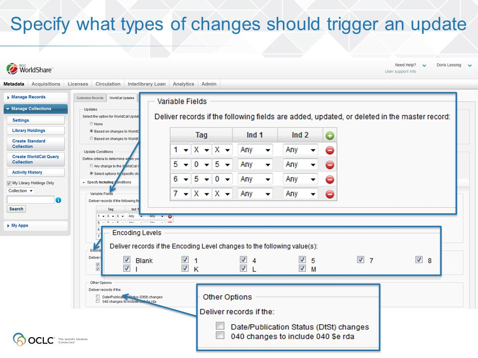 Specify what types of changes should trigger an update