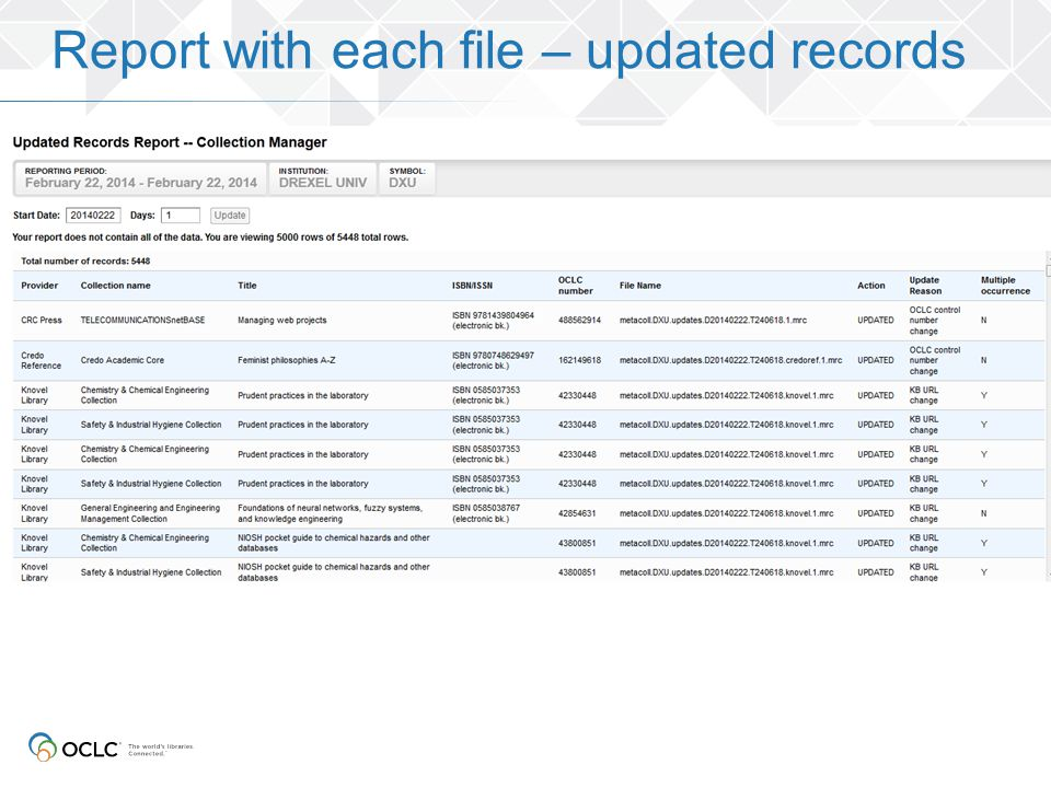 Report with each file – updated records