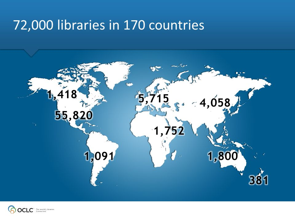 72,000 libraries in 170 countries