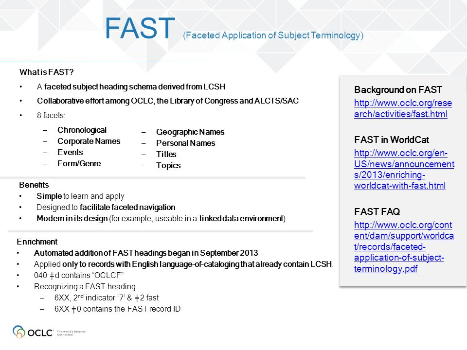 FAST (Faceted Application of Subject Terminology)