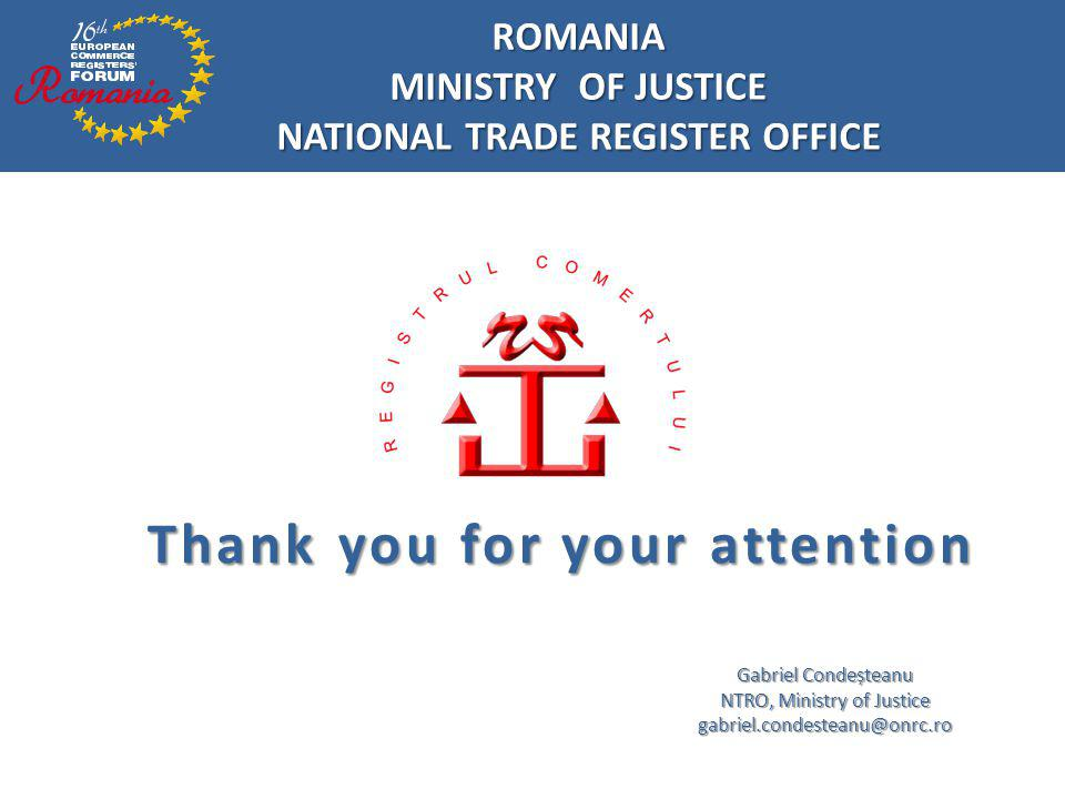 NATIONAL TRADE REGISTER OFFICE Thank you for your attention
