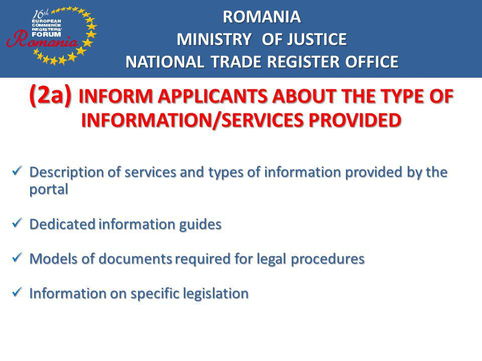 (2a) INFORM APPLICANTS ABOUT THE TYPE OF INFORMATION/SERVICES PROVIDED