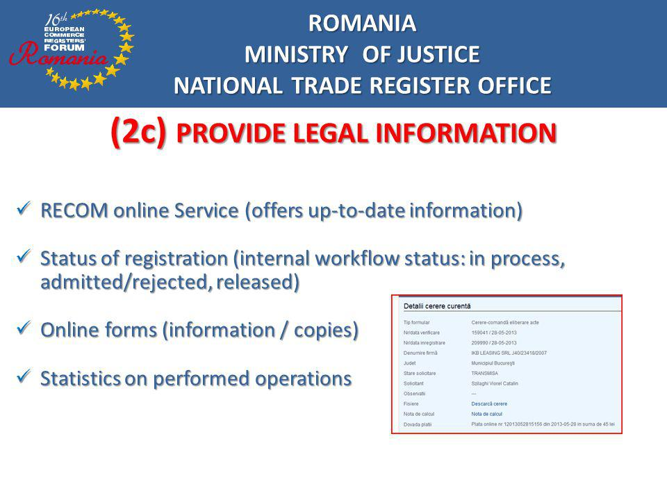 NATIONAL TRADE REGISTER OFFICE (2c) PROVIDE LEGAL INFORMATION