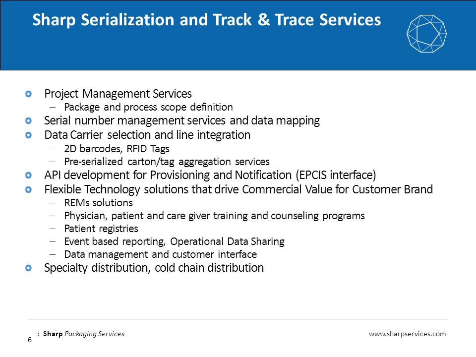 Sharp Serialization and Track & Trace Services