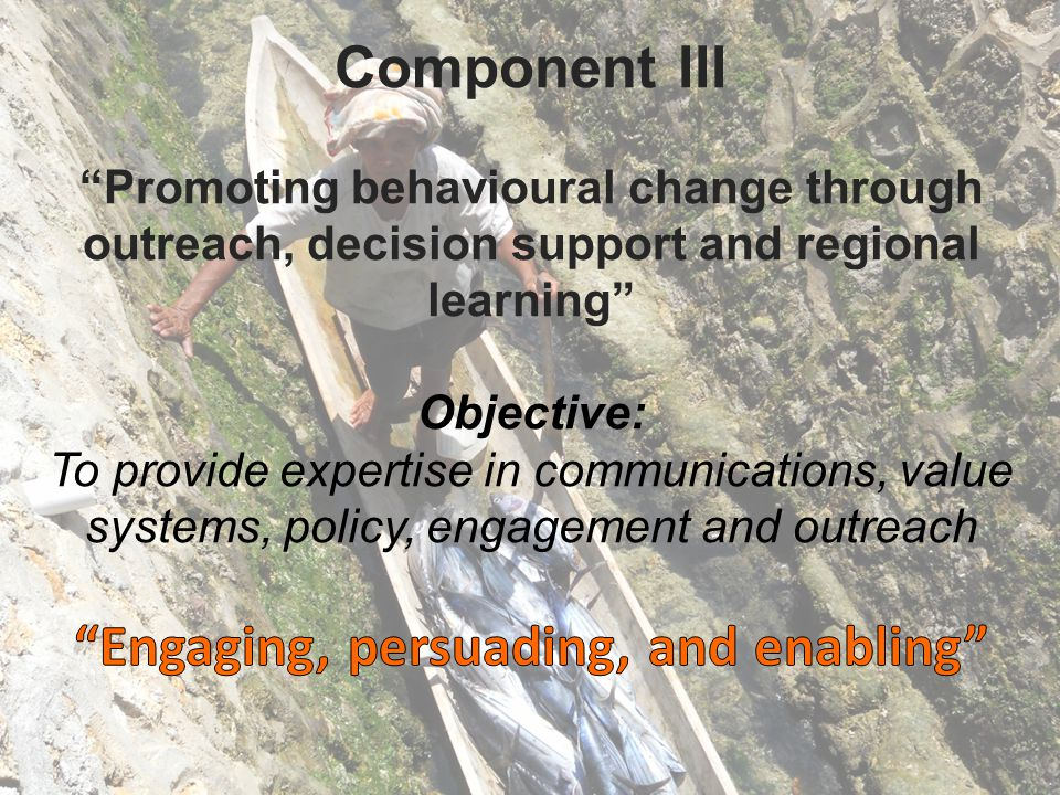 Component III Promoting behavioural change through outreach, decision support and regional learning Objective: To provide expertise in communications, value systems, policy, engagement and outreach Engaging, persuading, and enabling