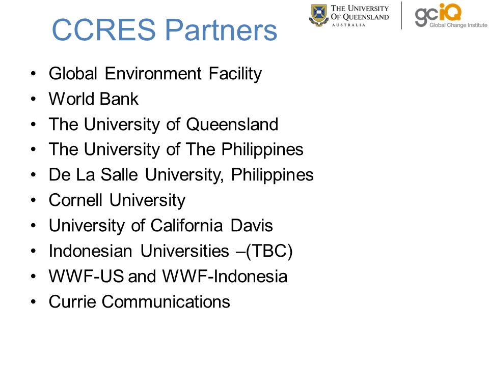 CCRES Partners Global Environment Facility World Bank